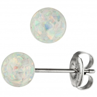 Ohrstecker Kugel Edelstahl mit Opalen Ohrringe Kugelohrstecker