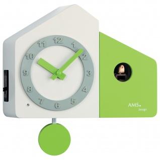AMS 7395 Kuckucksuhr Wanduhr Quarz mit Pendel modern weiß grün hellgrün
