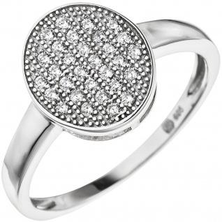 Damen Ring oval aus 925 Sterling Silber mit 30 Zirkonia Silberring - Vorschau