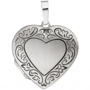 Medaillon Herz für 2 Fotos 925 Silber matt geschwärzt Anhänger zum Öffnen