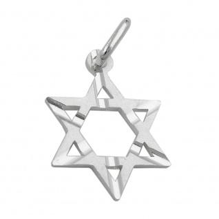 Anhänger 18x13mm David-Stern matt diamantiert Silber 925