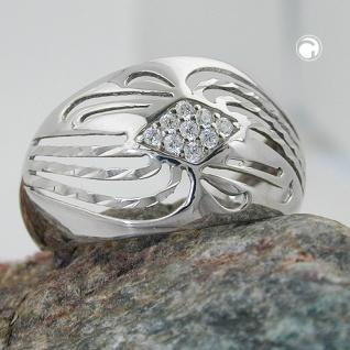 Ring 12mm mit Zirkonias glänzend diamantiert rhodiniert Silber 925 Ringgröße 58 - Vorschau 2