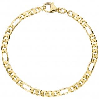 Figaroarmband 585 Gold Gelbgold 21 cm Armband Goldarmband Karabiner
