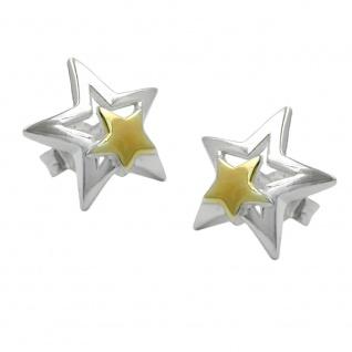 Stecker 11mm Stern bicolor Silber 925