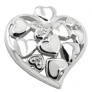 Anhänger 19x18mm Herz mit Zirkonias rhodiniert Silber 925