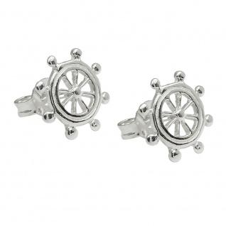 Ohrstecker Ohrring 10mm Steuerrad glänzend Silber 925