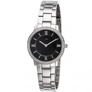 JOBO Damen Armbanduhr Quarz Analog Edelstahl mit Kristallsteinen Damenuhr
