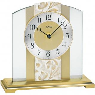 AMS 1123 Tischuhr Quarz analog golden modern aus Glas mit Messing und Kunstleder