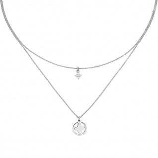 Collier Halskette 925 Sterling Silber 5 Zirkonia 44 cm