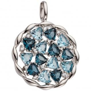 Anhänger 585 Gold Weißgold 13 Diamanten Brillanten 14 Blautopase