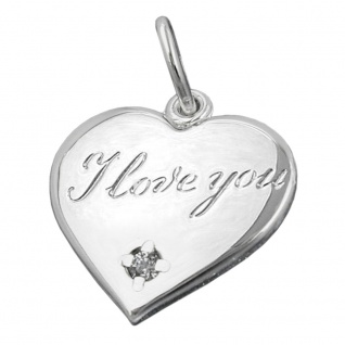 Anhänger 16mm Herz mit Schriftzug - I love you- und Zirkonia glänzend Silber 925