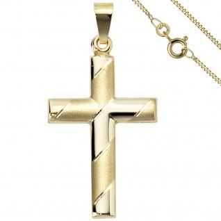 Anhänger Kreuz 333 Gold Gelbgold mit Kette 50 cm Goldkreuz Kreuzanhänger