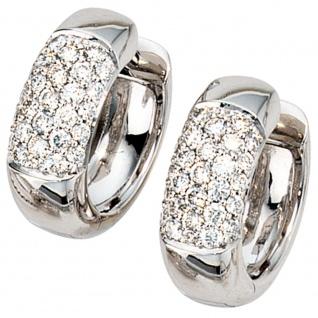 Creolen rund 585 Gold Weißgold 54 Diamanten Brillanten Ohrringe Weißgoldcreolen
