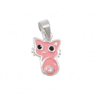 Anhänger 11x8mm Katze rosa schwarz lackiert Silber 925