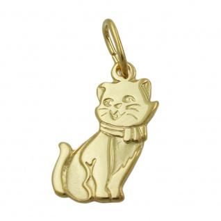 Anhänger 13x7mm Katze teil-mattiert 8Kt GOLD