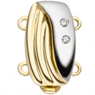 Schließe 2-reihig 585 Gold Gelbgold bicolor 2 DiamantenKettenverschluss