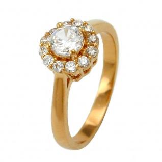 Ring 9mm Blüte mit weißen runden Zirkonias 3 Mikron vergoldet Ringgröße 62