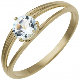 Damen Ring 585 Gold Gelbgold 1 Blautopas hellblau blau
