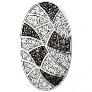 Anhänger oval 925 Sterling Silber 95 Zirkonia Silberanhänger