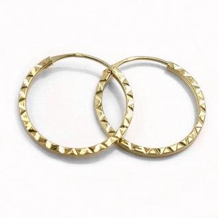 Creole Ohrring 17x1mm Steckverschluss Muster glänzend diamantiert 9Kt GOLD