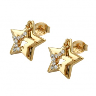 Stecker 13mm doppelter Stern mit Zirkonia vergoldet 3 Mikron