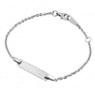 Schildband 2, 1mm Anker mit Platte matt diamantiert rhodiniert Silber 925