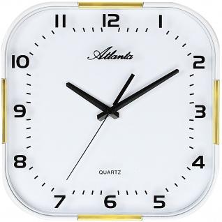 Atlanta 4455/9 Wanduhr Quarz analog weiß golden mit Glas leise ohne Ticken