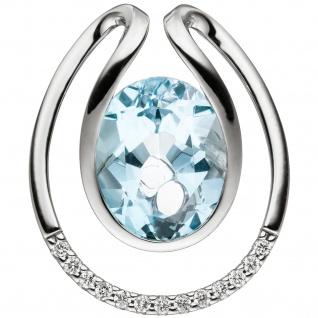 Anhänger 585 Weißgold 13 Diamanten Brillanten 1 Blautopas hellblau blau