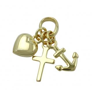 Anhänger 15mm Glaube-Liebe-Hoffnung glänzend 9Kt GOLD