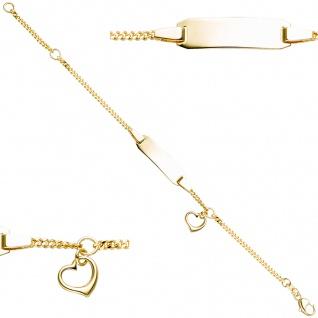 Schildband mit Herz 333 Gold Gelbgold Gravur ID Armband 14 cm