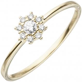 Damen Ring 333 Gold Gelbgold 9 Zirkonia