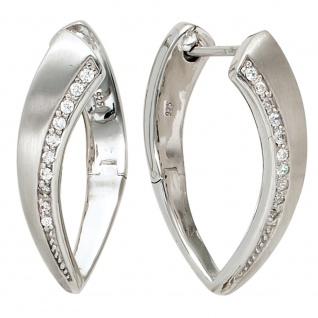 Creolen 925 Sterling Silber mattiert mit Zirkonia Ohrringe Silbercreolen