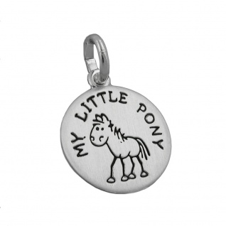 Anhänger 12mm mit Gravur MY LITTLE PONY Pony schwarz lackiert matt Silber 925