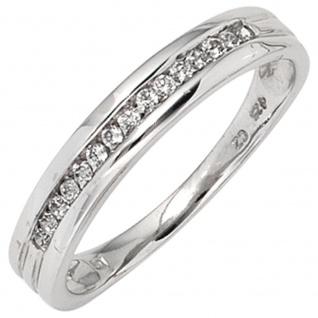 Damen Ring 585 Gold Weißgold 15 Diamanten Brillanten 0, 15ct. Goldring