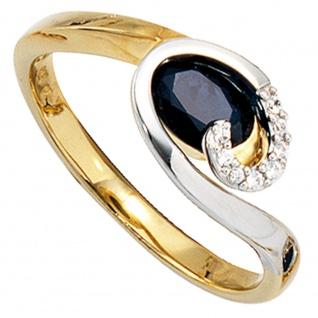 Damen Ring 585 Gold Gelbgold Weißgold 1 Safir blau 8 Diamanten Brillanten - Vorschau