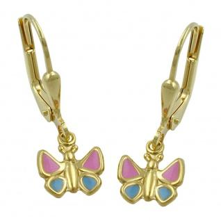 Ohrbrisur Ohrhänger Ohrringe 22x7mm Schmetterling hellblau-pink 9Kt GOLD
