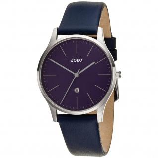 JOBO Damen Armbanduhr Quarz Analog Edelstahl Lederband blau Datum Damenuhr
