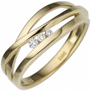 Damen Ring breit 585 Gold Gelbgold 3 Diamanten Brillanten 0, 08ct. Goldring