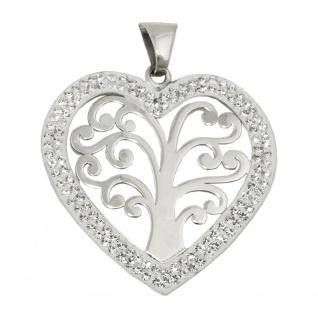 Anhänger 25x25mm Herz mit Baum des Lebens Silber 925