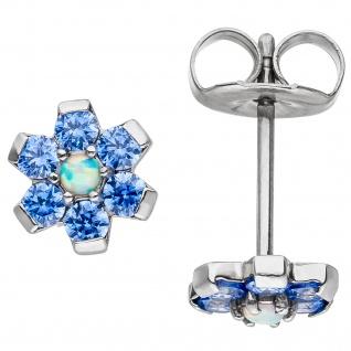 Ohrstecker Blume aus Edelstahl mit Kristallsteinen blau Ohrringe