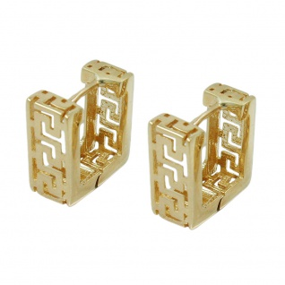 Creole 11x5mm Klappscharnier Viereck matt-glänzend Muster 9Kt GOLD