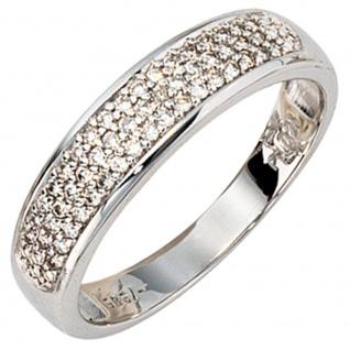 Damen Ring 585 Gold Weißgold 50 Diamanten Brillanten 0, 25ct. Weißgoldring