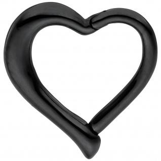 Segmentring Herz Edelstahl schwarz Klick-System Scharnier Ringstärke 1, 2 mm