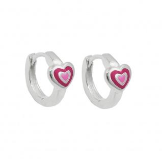Creole 12x2mm Klappscharnier Herz zweifarbig pink-lackiert, Silber 925