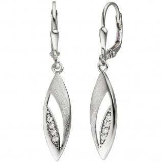 Ohrhänger 925 Silber teil matt 8 Zirkonia Ohrringe Boutons Silberohrringe