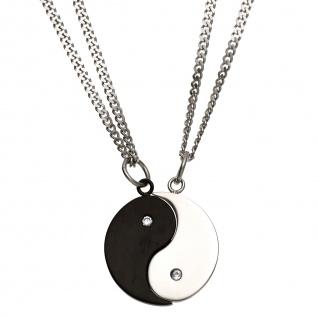 Collier Kette mit Anhänger Ying Yang 4-teilig Edelstahl 2 Zirkonia Halskette