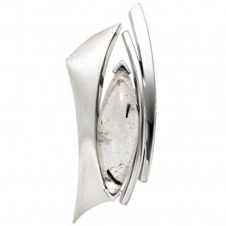 Anhänger 925 Sterling Silber rhodiniert teil matt 1 Turmalinquarz