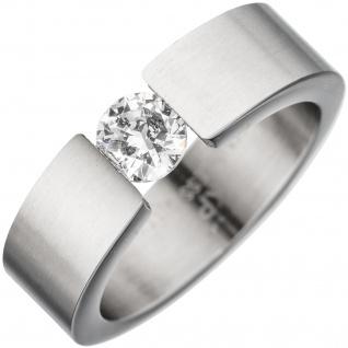 Damen Ring Edelstahl mattiert 1 Kristall Edelstahlring