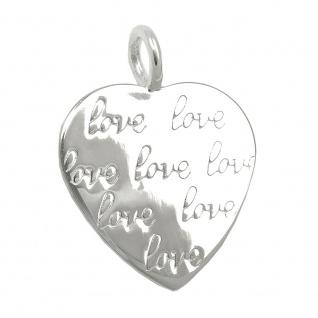 Anhänger 19x18mm Herz Prägung -love- glänzend Silber 925