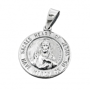 Anhänger 26mm Herz-Jesu-Verehrung dunkel geschwärzt Silber 925